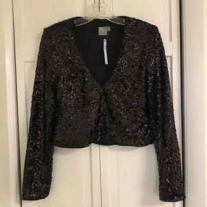 BRAND NEW Black Sequin Long-Sleeve V-Neck Crop Top